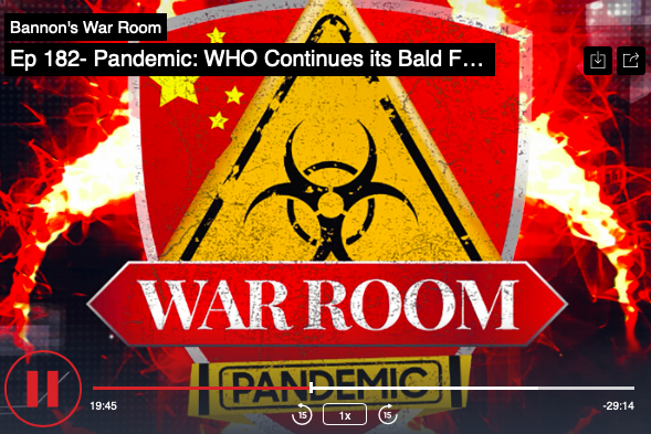 Steve Bannon, Jack Maxey, and Raheem Kassam discuss the latest on the coronavirus pandemic as the WHO publishes more lies to cover up its complicity to hide the outbreak from the world with the Chinese Communist Party.