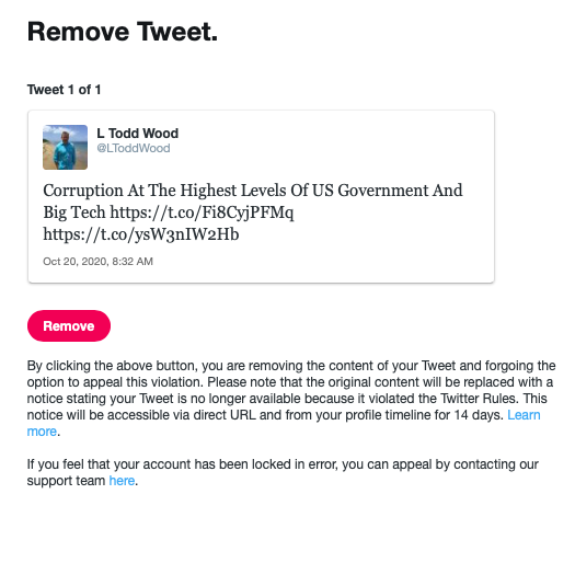TWITTER LOCKS CDMEDIA FOUNDER L TODD WOOD'S ACCOUNT FOR POSTING BIDEN LAPTOP BACK STORY