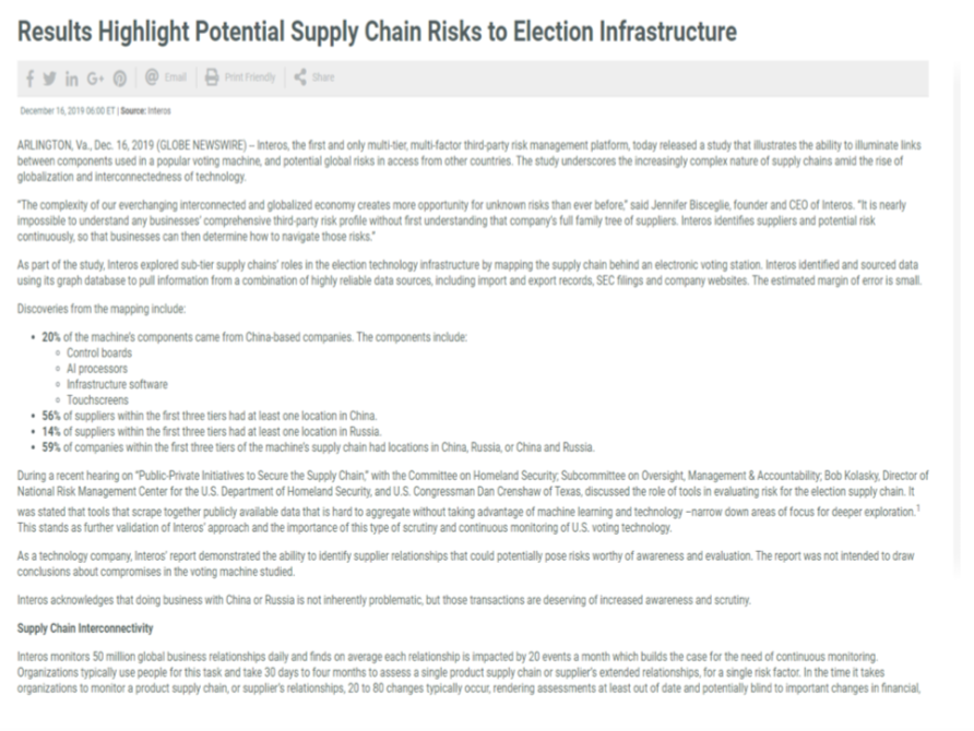 Foreign Election Interference #6:  Supply Chain Concerns