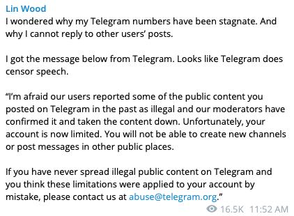 Telegram Appears To Censor Attorney Lin Wood - No Longer Free Speech?