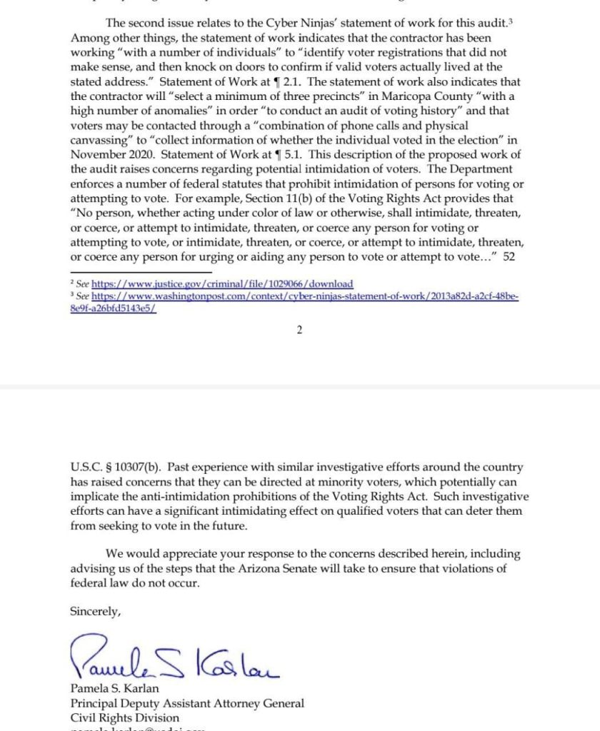 DOJ Sends Letter To Maricopa County...About That Audit...