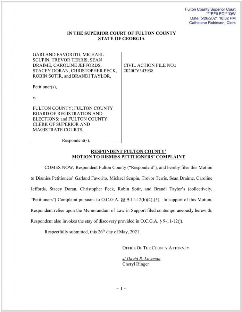 BREAKING: Corrupt Fulton County, GA Moves To Dismiss Election Fraud Case As Audit Nears, Moves To Stop Discovery Of Criminal Behavior